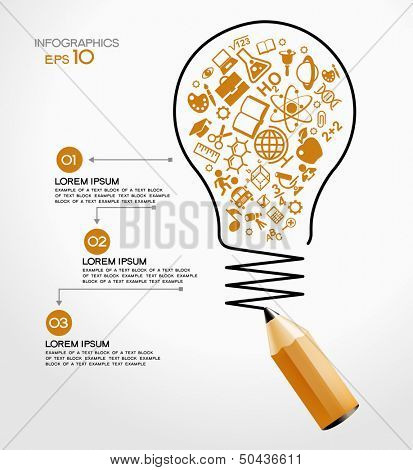 creative splash pencil and bulb with school icons set illustration. concept learning. the study of s poster