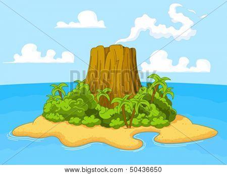 Illustration of volcano on desert island