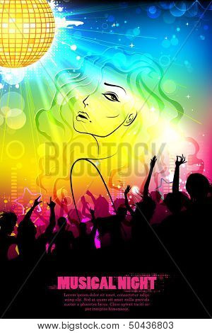 illustration of stylish woman on DJ musical background