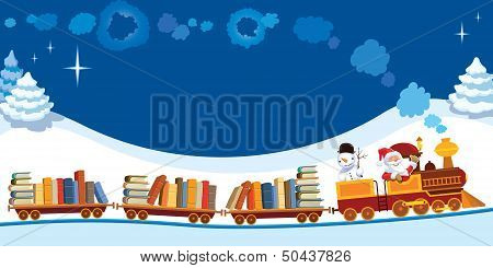 Christmas Train With Books