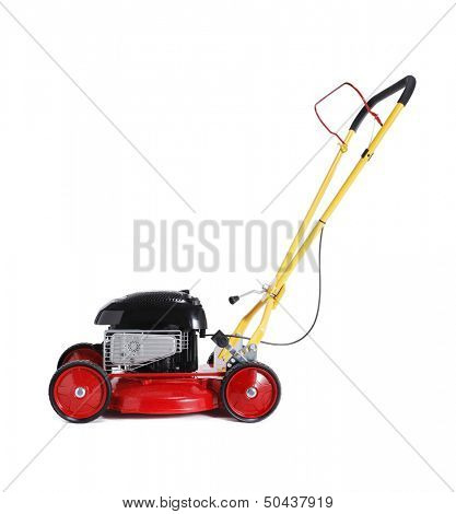Red new retro-styled lawn mower isolated on white with natural shadow.