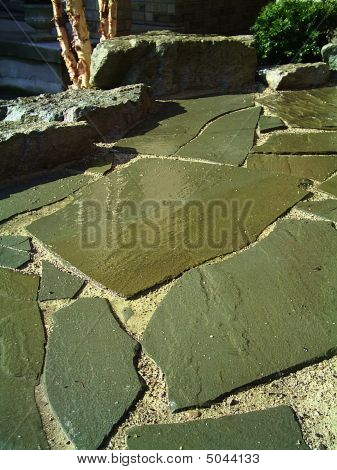 Flagstone And Rock Walkway
