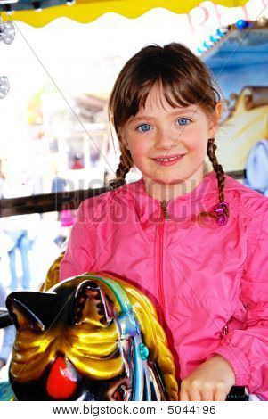 Female, Child, Holidays, Merry-go-round,  Roundabout,  Whirligig.
