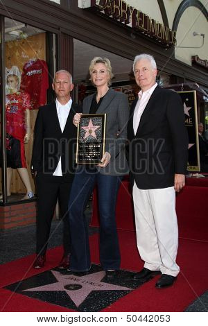 LOS ANGELES - SEP 4:  Ryan Murphy, Jane Lynch, Christopher Guest at the Jane Lynch Hollywood Walk of Fame Star Ceremony on Hollywood Boulevard on September 4, 2013 in Los Angeles, CA