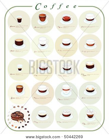 Different Kind Of Coffee Menu Or Coffee Guide