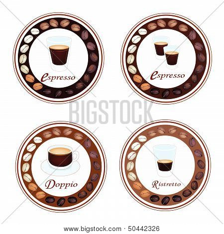 Four Type Of Hot Coffee In Retro Round Label