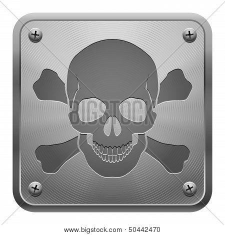 Metal tablet with skull and cross-bones.
