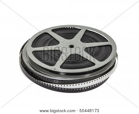 Vintage home movie film reel and can.