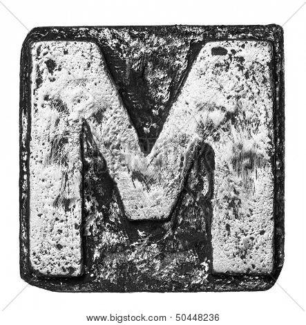 Metal alloy alphabet letter M