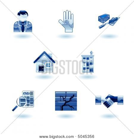 Blue Shiny Real Estate Icons