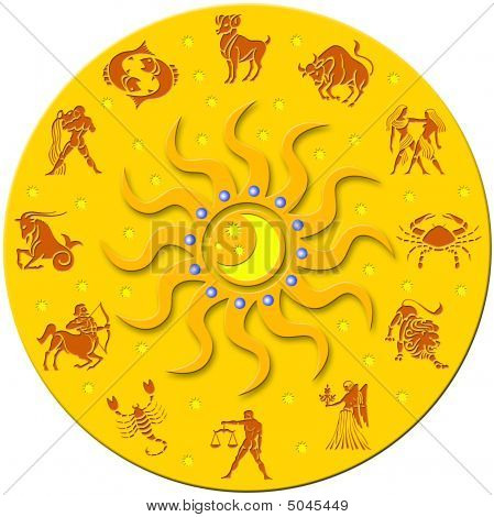 Golden Round Badge With Signs Of The Zodiac