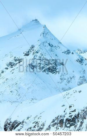 Morning Winter Windy Mountain Landscape. (austria).