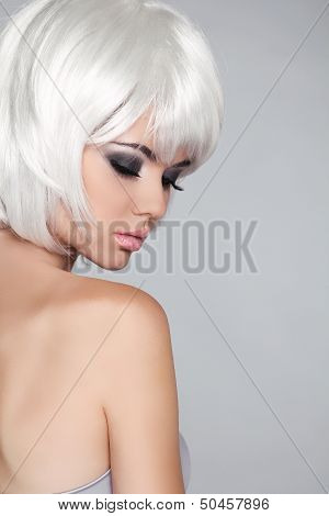 Fashion Beauty Portrait Woman. White Short Hair. Isolated On Grey Background. Beautiful Girl's Face
