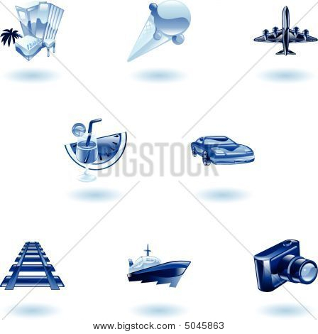 Blue Travel And Tourism Icon Set
