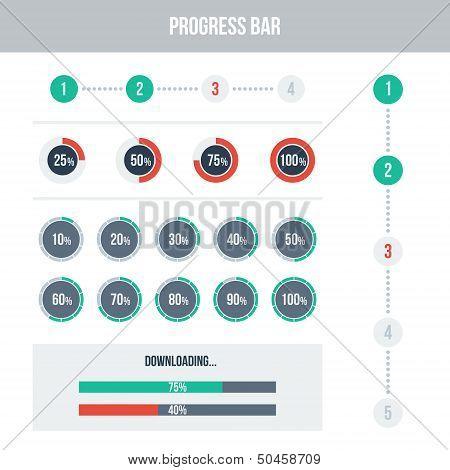 Flat UI design elements set - different progress bars.