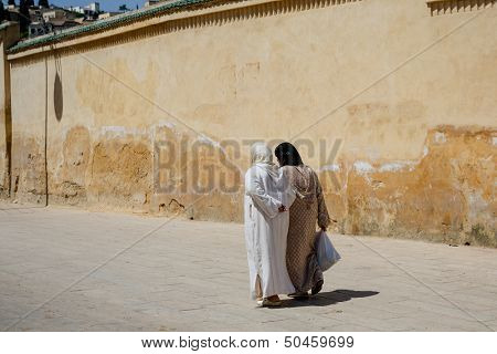 Muslim women on the street of Fes, Morocco