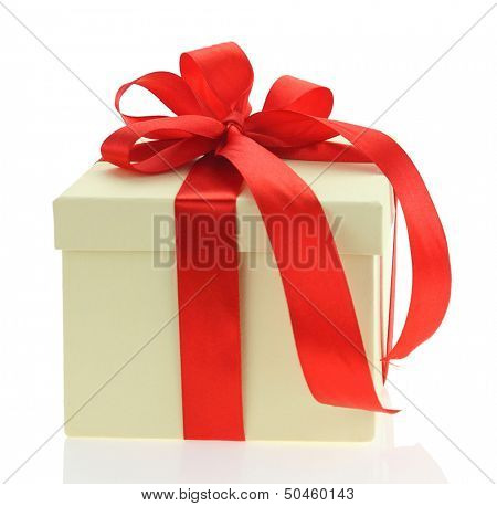 Ecru gift box with red ribbon isolated on white background