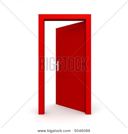 Open Single Red Door