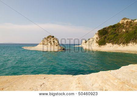 Seascape of coast and beaches in Corfu island