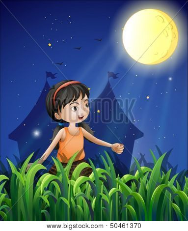 Illustration of a happy young girl watching the moon