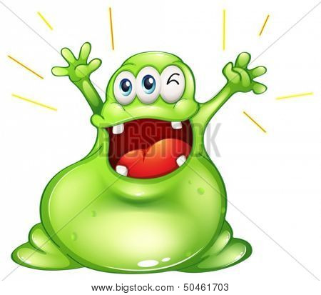 Illustration of a successful fat monster on a white background