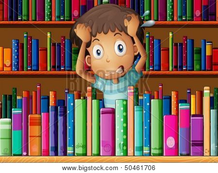 Illustration of a frustrated young man in the library