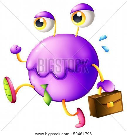Illustration of a purple monster with a new job on a white background