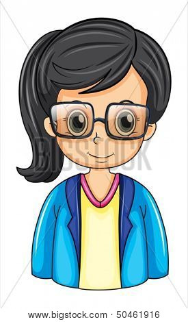 Illustration of a female business icon wearing an eyeglass on a white background