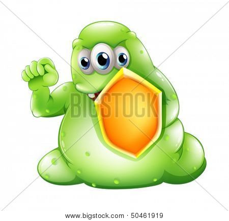 Illustration of a brave greenslime monster holding a shield on a white background