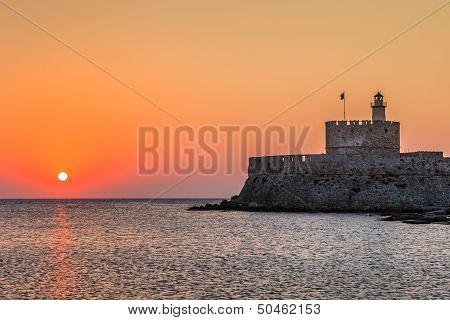 Sunrise In Mandraki Harbour. Rhodes, Greece