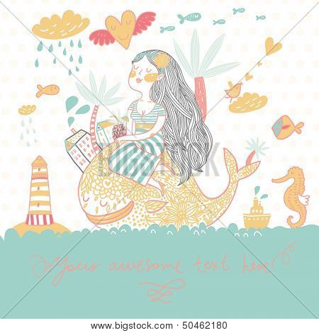 Summer cartoon background with girl with cocktail under palm on the whale in the sea with lighthouse, sea horse