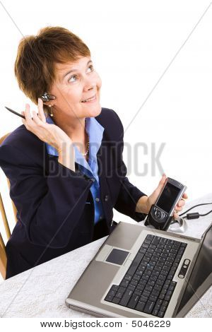 Businesswoman Works From Home
