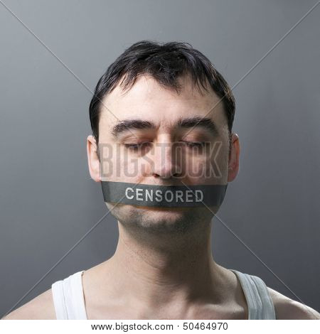 man's portrait with bandage on his face which represents censorship of statements