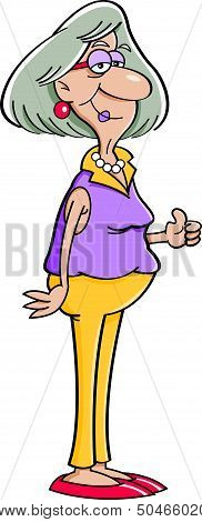 Cartoon elderly lady giving thumbs up.