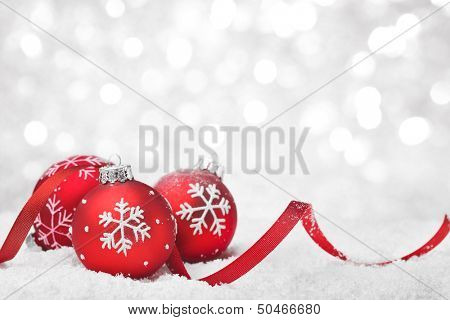 Christmas balls with ribbon on snow