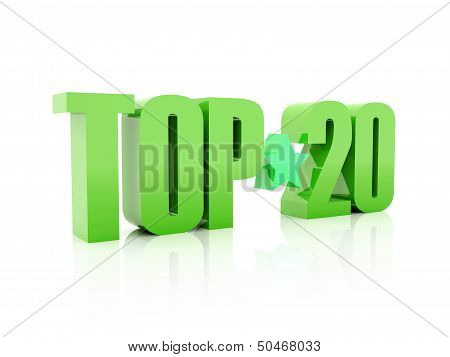 Top twenty green word isolated on white background. 3D illustration.