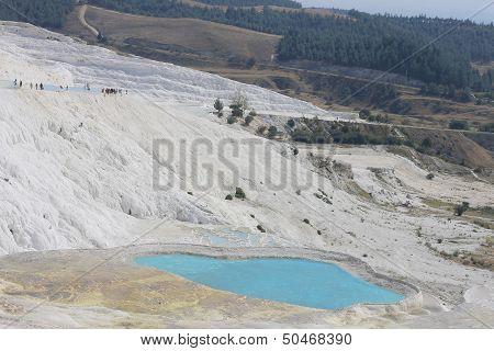 The Pamukkale Natural Salt Lakes In Hierapolis Turkey