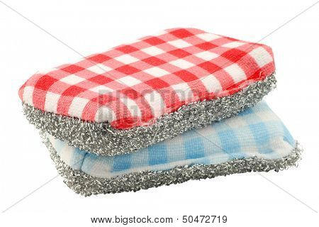 two red and blue checkered abrasive pads on a white background