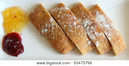 Ciabatta on a white dish