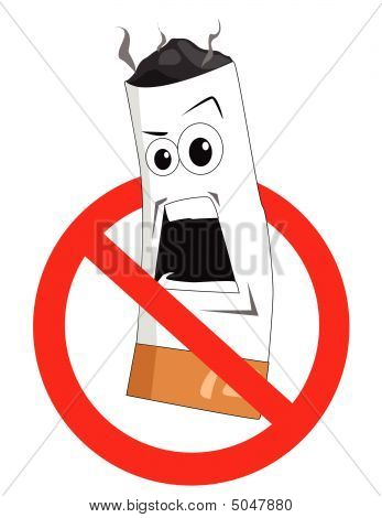 Cartoon No Smoking Sign On White