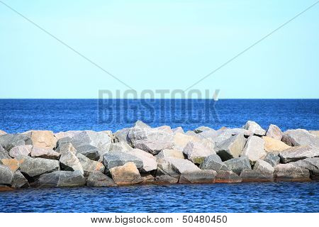 Stone Breakwater For Protection Of Coast