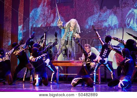 MOSCOW - DEC 15: Group of actors on stage during musical spectacle for children Treasure Island at Big Concert Hall Izmailovo, December 15, 2012, Moscow, Russia.