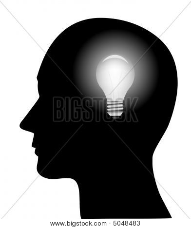 Illustration Of Head With Bulb