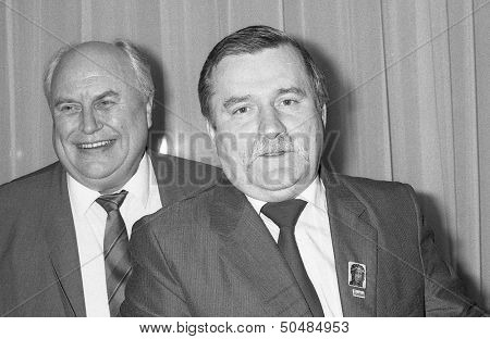 LONDON - NOVEMBER 30: Norman Willis (left) , General Secretary of the Trades Union Congress and Lech Walesa, President of Poland, attend a press conference at the TUC on November 30, 1989 in London.