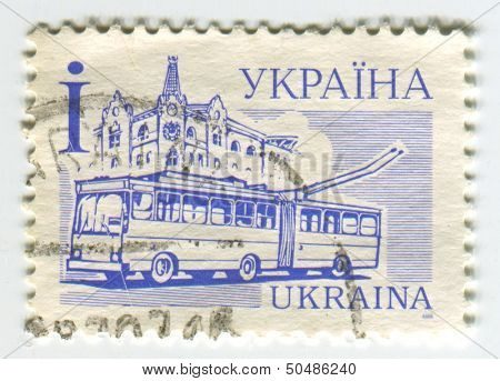 UKRAINE - CIRCA 2006: A stamp printed in Ukraine shows image of the A trolleybus also known as trolley bus, trolley coach, trackless trolley, trackless tram or trolley, circa 2006.