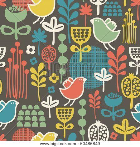 Beautiful seamless pattern with cute birds.