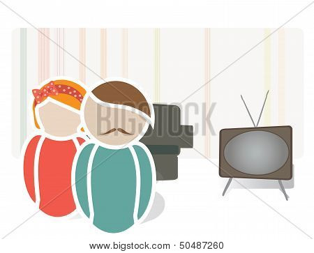 Retro Couple in a House. Universal Web Icons