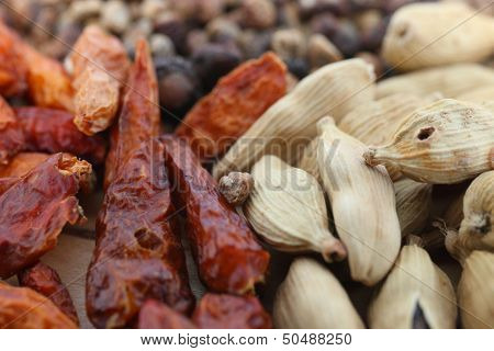 Dried Chilli Pepper And Cardamom