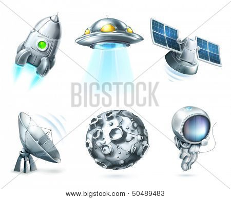 Space, vector icon set on white