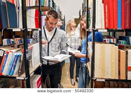 students: revising in library